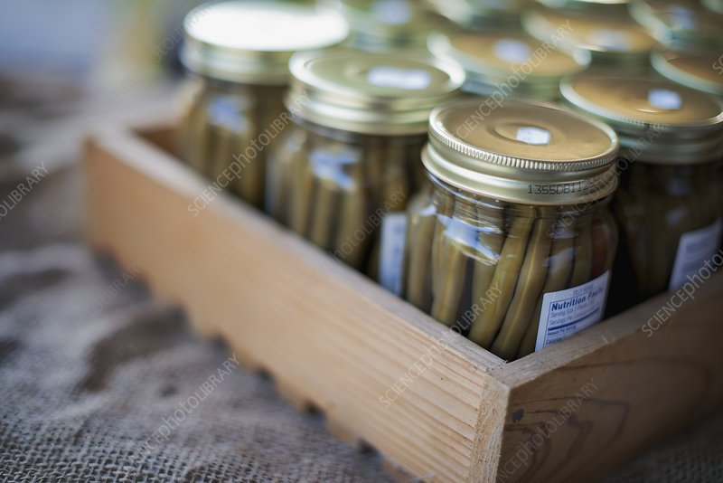 Jars of Organic Green Beans
