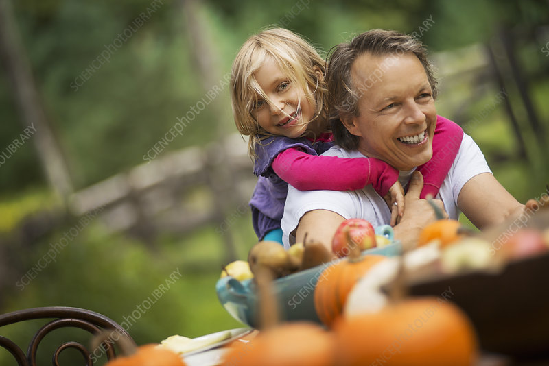 A father and daughter outdoors