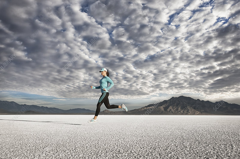 Female Runner on salt flats