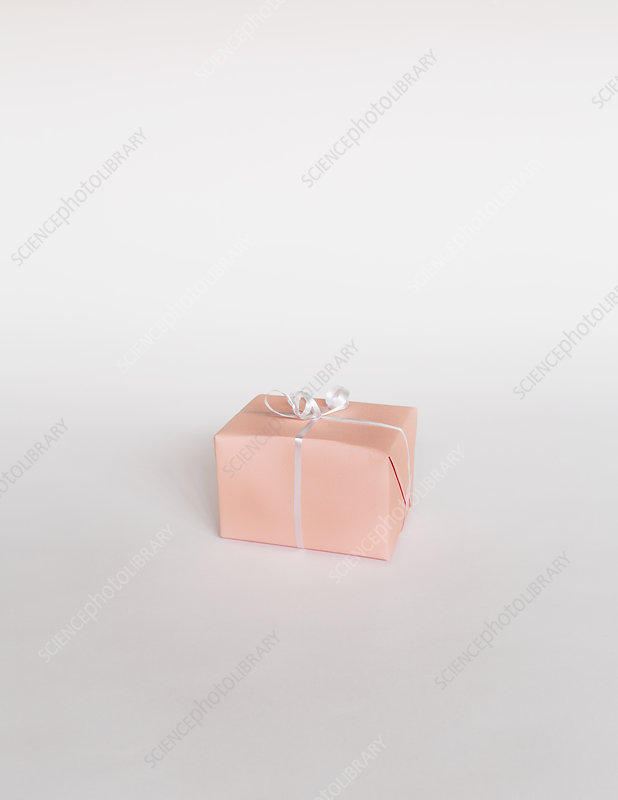 Small boxed gift on white backdrop