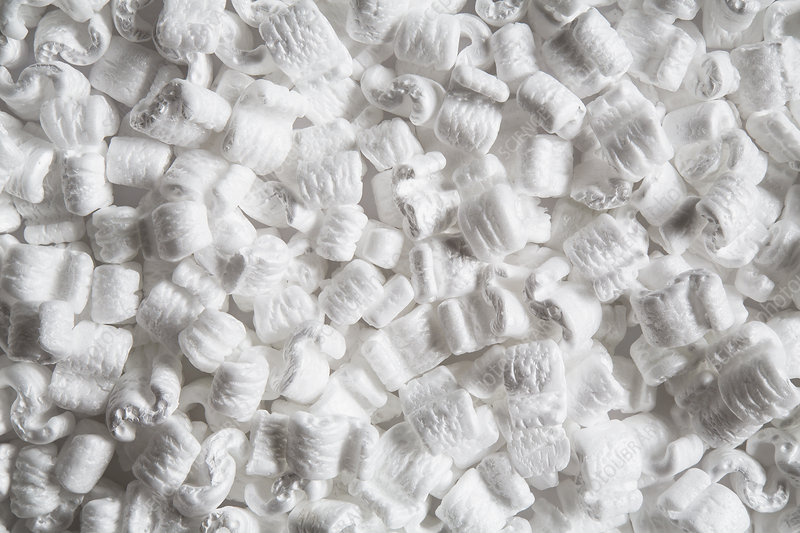 Heap of packaging peanuts, close up