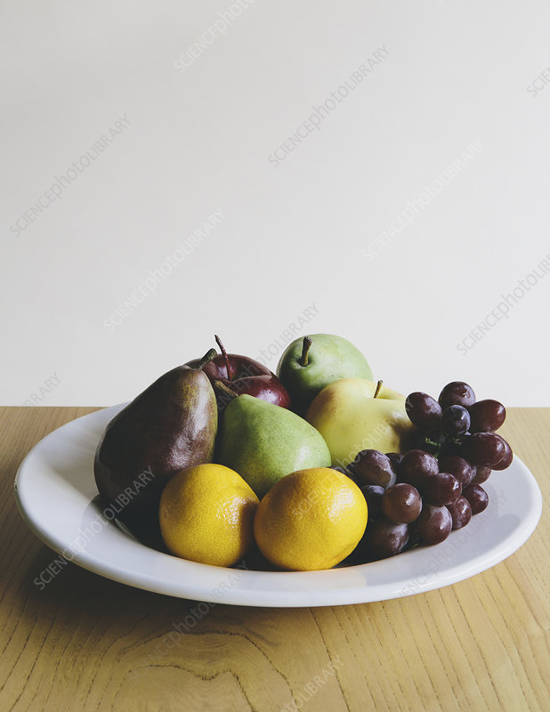 Tangerines, grapes, pear, green apples