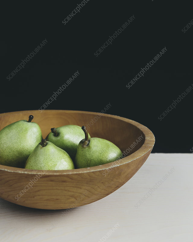Bowl of green Anjou pears