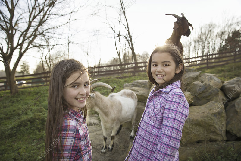 Two children in a goat enclosure