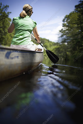 Woman canoeing