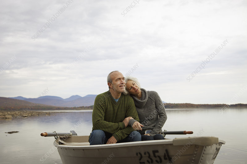 A couple in a rowing boat on the water