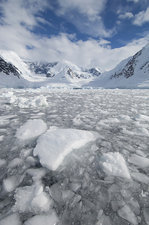 Ice at the base of a glacier, Antarctica.