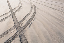 Tire tracks on beach, Ocean Park