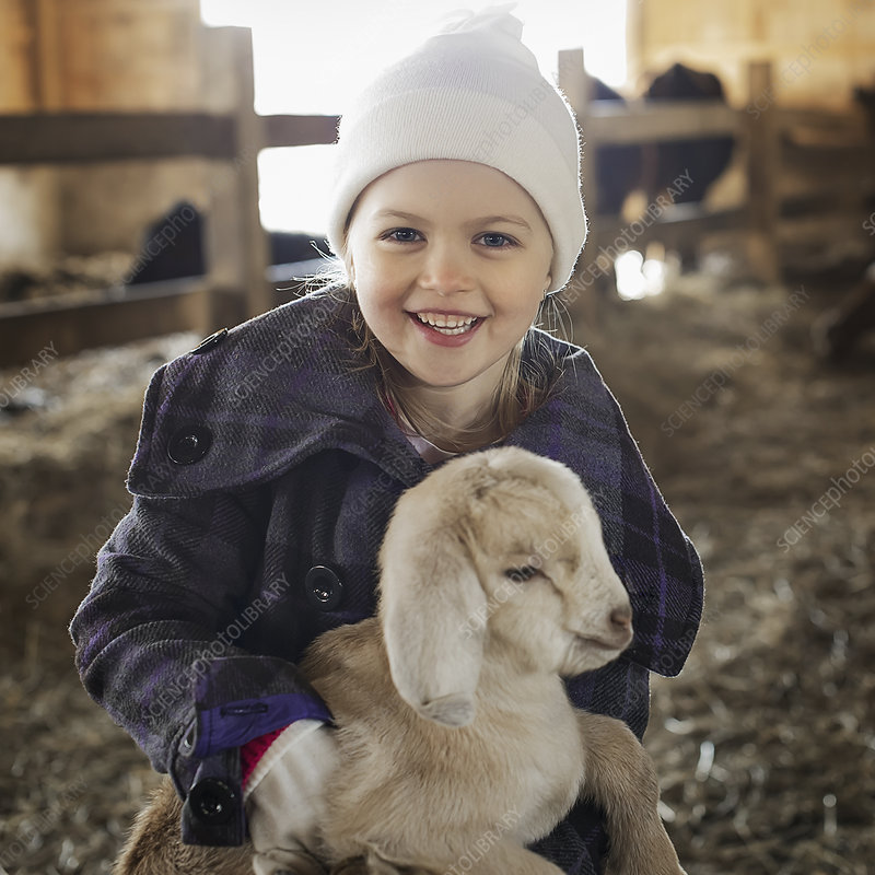 A child stroking a baby goat.