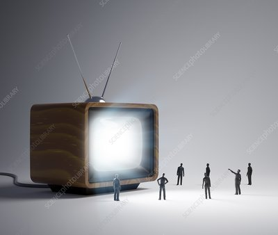 Television and figures, artwork
