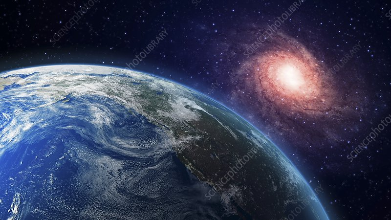 Earth and galaxy, artwork