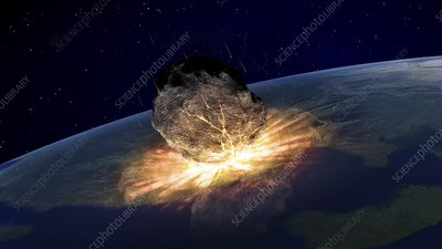 Asteroid hitting earth, artwork
