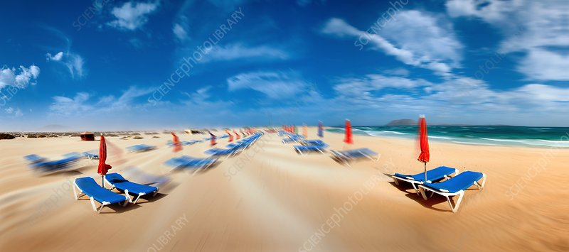 Beach with sunloungers
