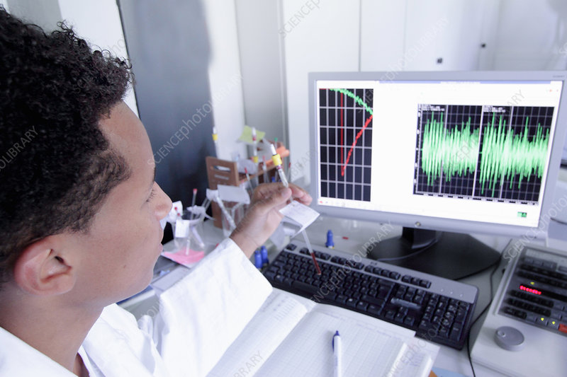 Scientist working on computer