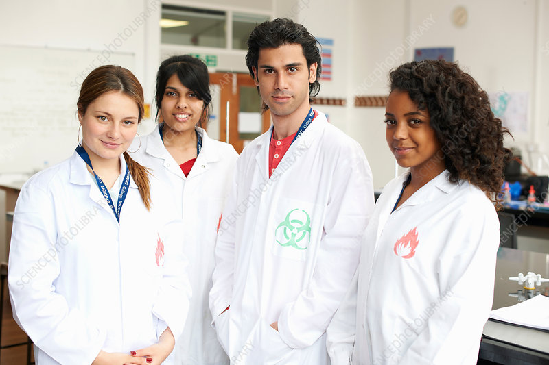 College students wearing lab coats