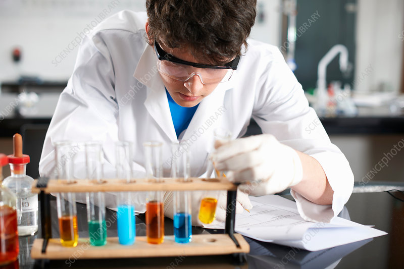 Chemistry student doing experiment