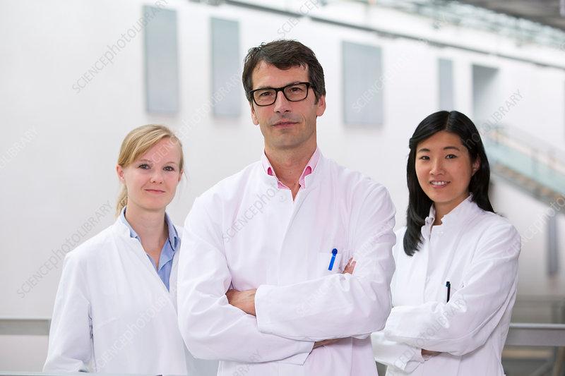 Group of scientists in atrium