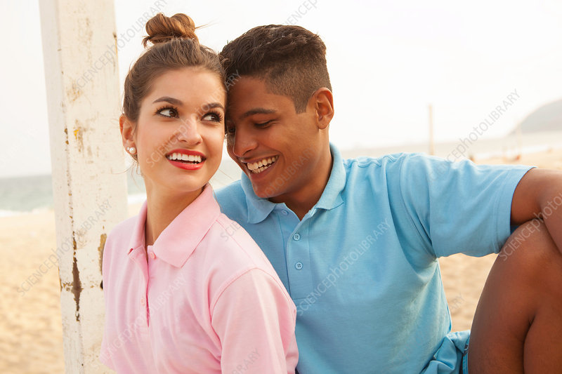 Portrait of young couple on beach