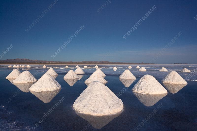 Piles of salt, Salar de Uyuni, Bolivia