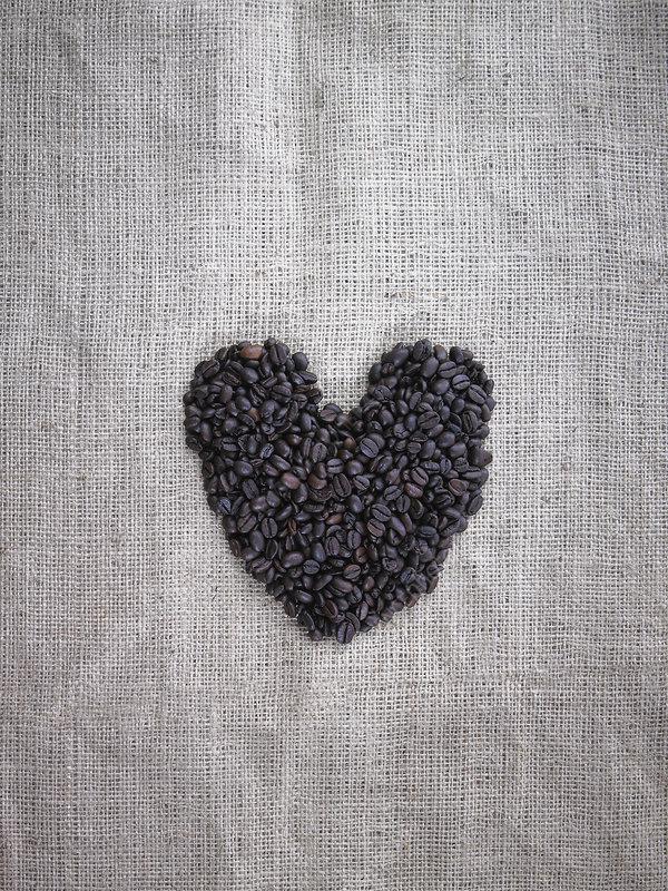 Organic roasted coffee beans heart shape