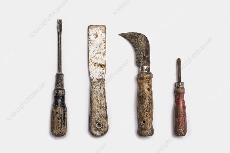 Used tools with well used, worn handles