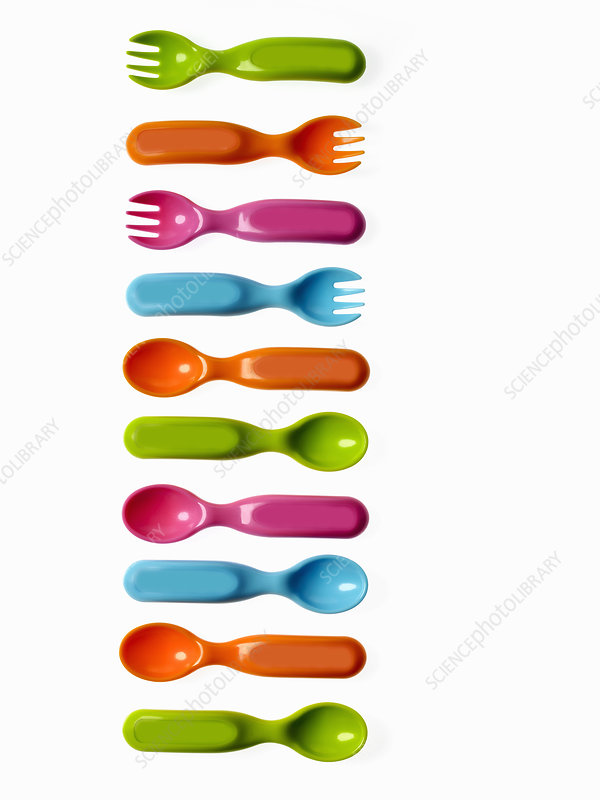 Colourful plastic cutlery for babies