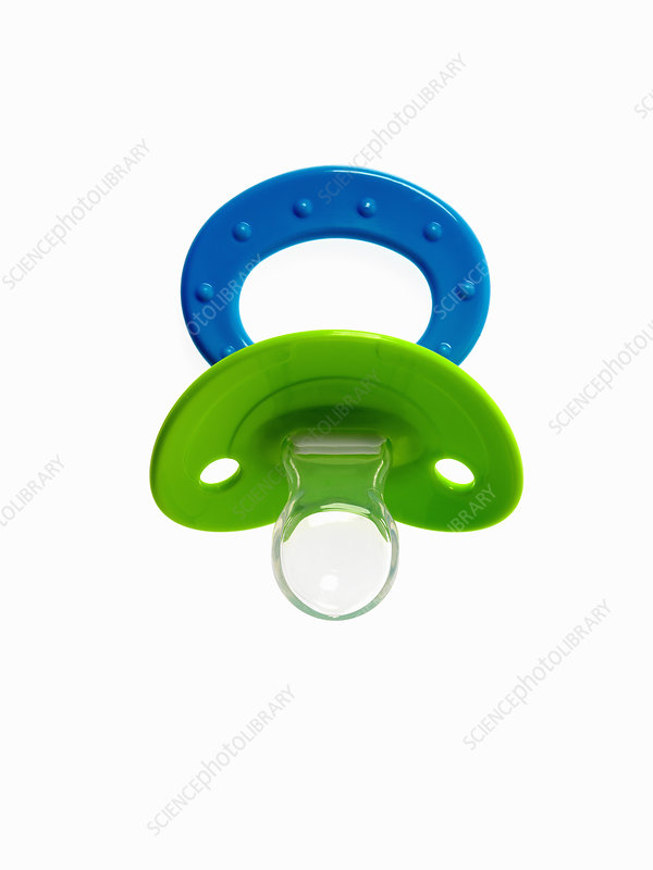 A coloured plastic baby pacifier, dummy