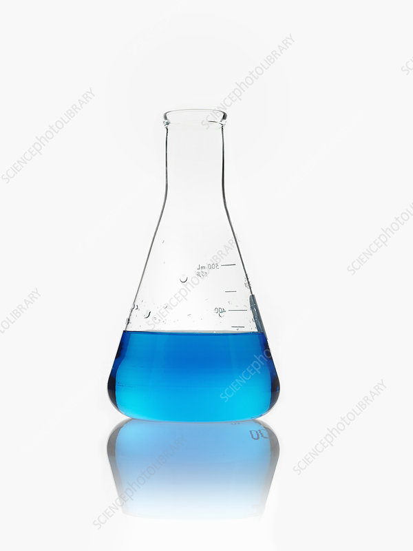A conical flask filled with blue liquid