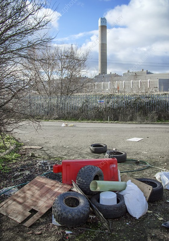 Rubbish dumped near power station