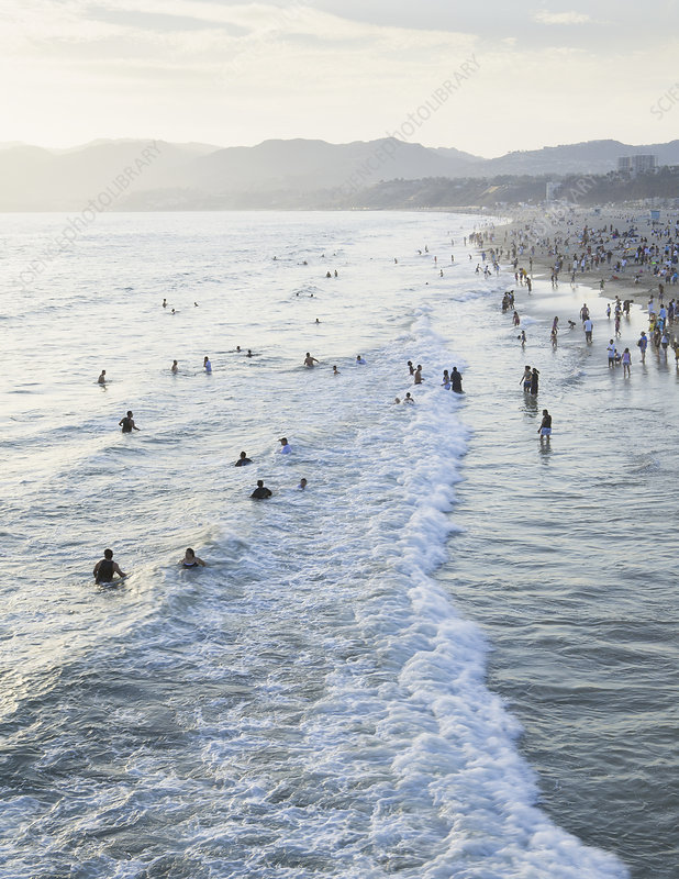 Swimmers in the ocean, California, USA
