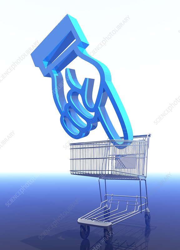 Shopping trolley and icon, artwork