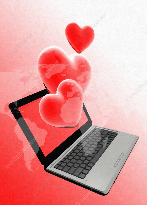 Laptop and hearts, artwork