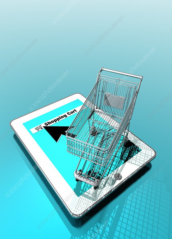 Trolley and digital tablet, artwork