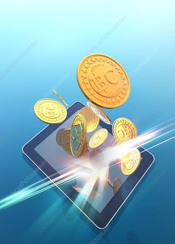 Bitcoins and digital tablet, artwork