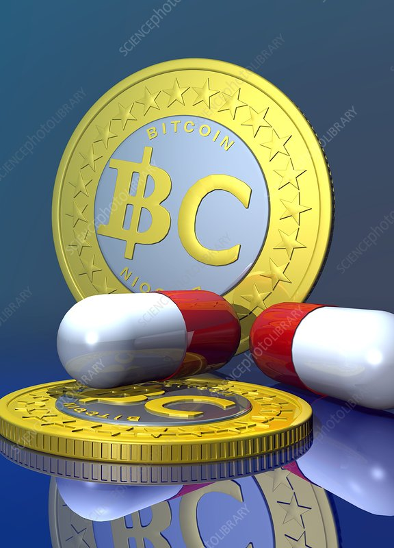 Bitcoins and medicine, artwork