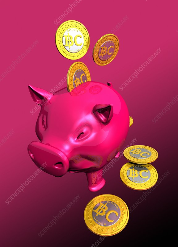Piggy bank and bitcoins, artwork