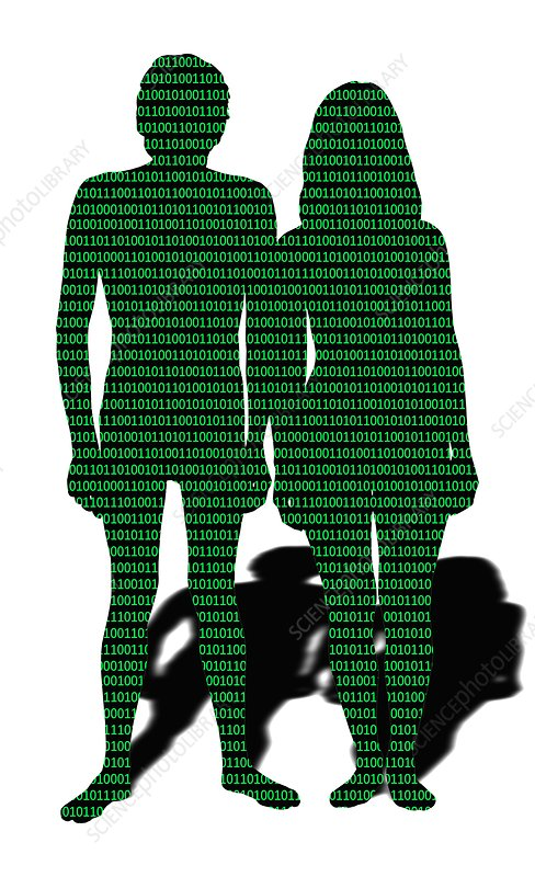 Male and female with binary code