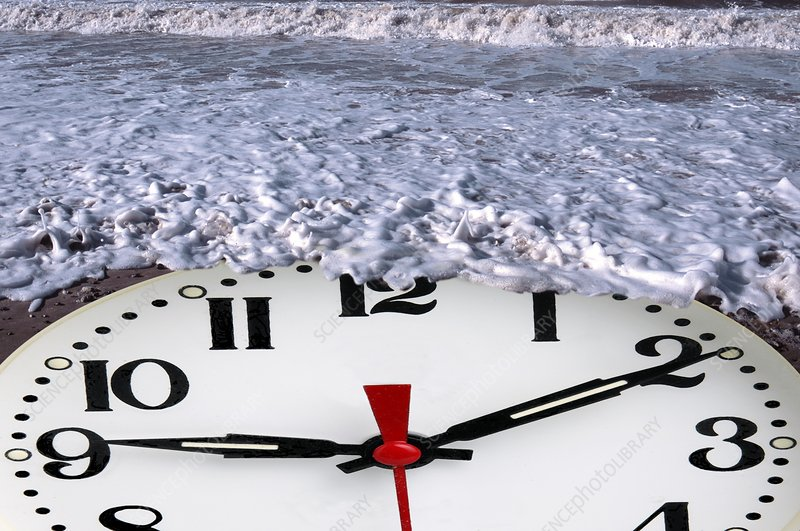 Clock in water, artwork