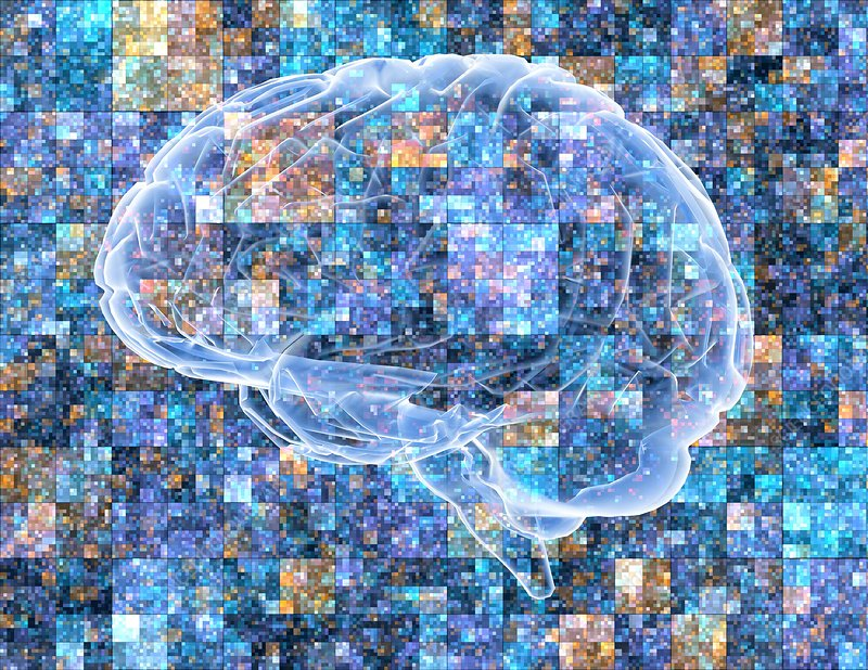 Brain over pixelated background, artwork