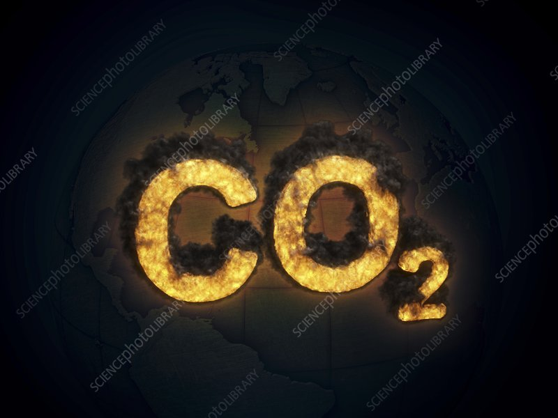 CO2 symbol burning, artwork