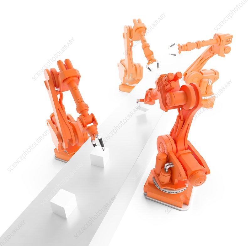Robots on production line, artwork