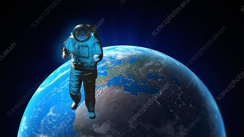 Astronaut and planet earth, artwork