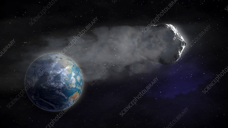 Comet flying towards earth, artwork