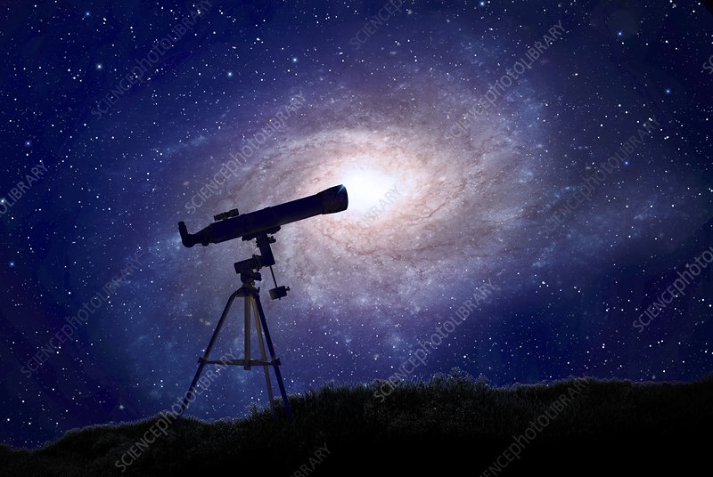 Telescope and galaxy, artwork