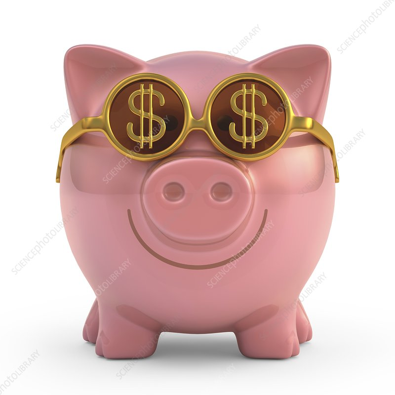 Piggy bank with sunglasses, artwork