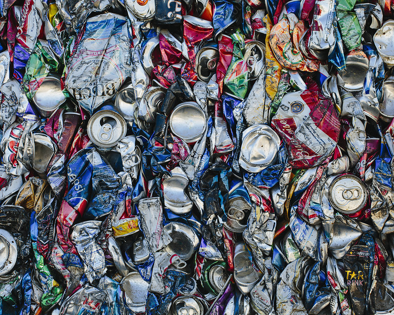 Aluminium cans at a recycling plant