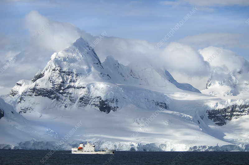 Ship on shore of an Antarctic island