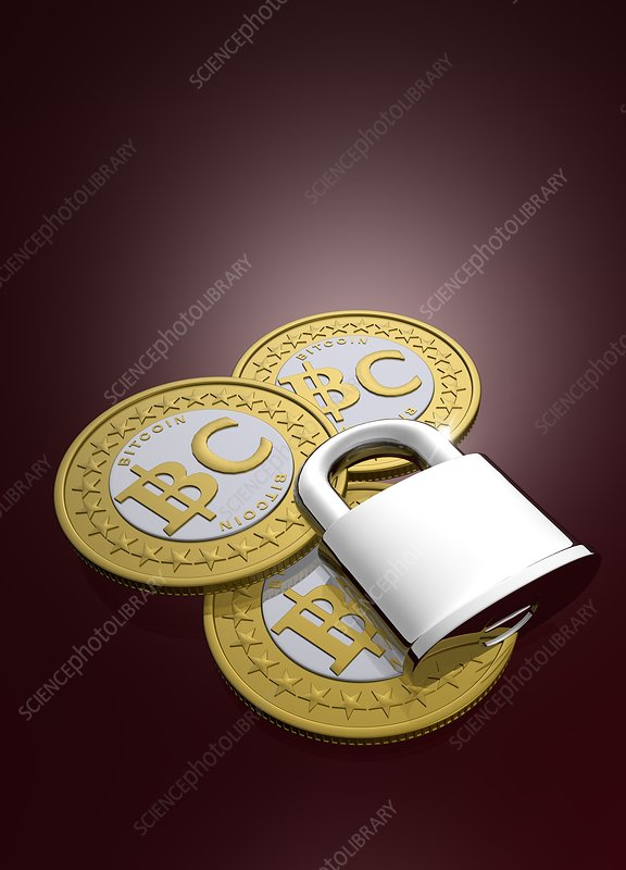Bitcoins and padlock, artwork