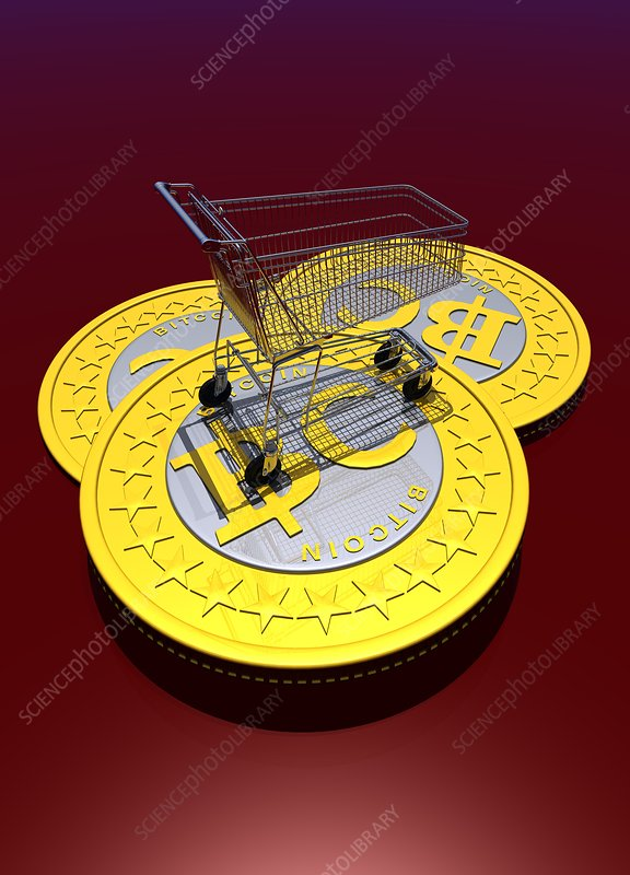 Bitcoins and shopping trolley, artwork