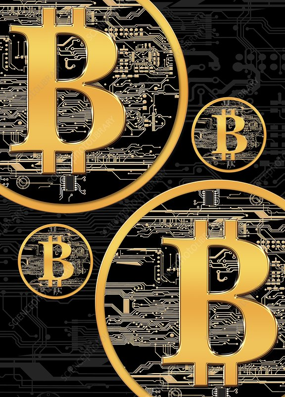 Bitcoin logo on circuit board, artwork